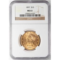 1897 $10 Liberty Head Eagle Gold Coin NGC MS61