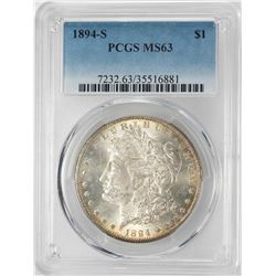 1894-S $1 Morgan Silver Dollar Coin PCGS MS63