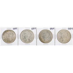 Lot of (4) 1889 $1 Morgan Silver Dollar Coins