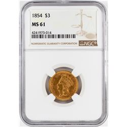 1854 $3 Indian Princess Head Gold Coin NGC MS61