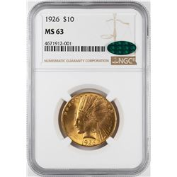 1926 $10 Indian Head Eagle Gold Coin NGC MS63 CAC