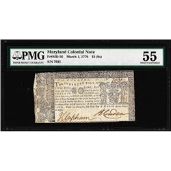 March 1, 1770 $2 Maryland Colonial Currency Note Fr. MD-56 PMG About Uncirculated 55