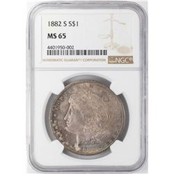 1882-S $1 Morgan Silver Dollar NGC MS65 Nice Toning