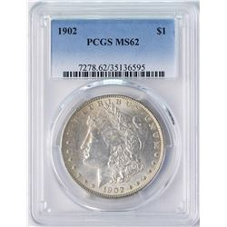 1902 $1 Morgan Silver Dollar Coin PCGS MS62
