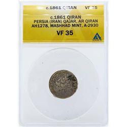 c.1861 Persia Qajar AH1278 Mashhad Mint Coin ANACS VF35