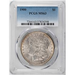 1900 $1 Morgan Silver Dollar Coin PCGS MS63 Amazing Toning