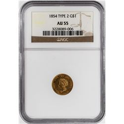 1854 Type 2 $1 Indian Princess Head Gold Dollar Coin NGC AU55