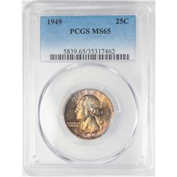 1949 Washington Quarter Coin PCGS MS65 Amazing Toning