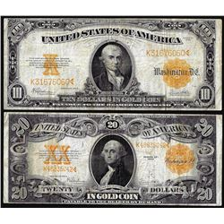 Lot of 1922 $10 & $20 Gold Certificate Notes