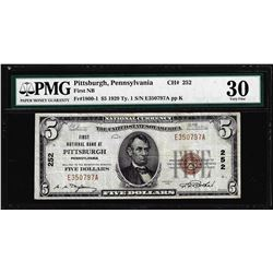 1929 $5 First NB Pittsburgh, PA CH#252 National Currency Note PMG Very Fine 30