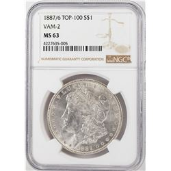 1887/6 VAM-2 $1 Morgan Silver Dollar Coin NGC MS63 Top 100