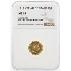 1917 VBP AH Denmark 10 Kroner Gold Coin NGC MS61