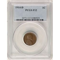 1914-D Lincoln Wheat Cent Coin PCGS F12