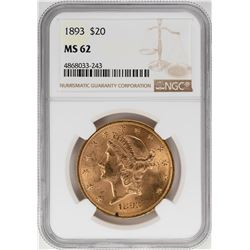 1893 $20 Liberty Head Double Eagle Gold Coin NGC MS62