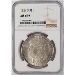 1921-S $1 Morgan Silver Dollar Coin NGC MS64+