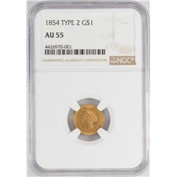 1854 $1 Type 2 Liberty Head Gold Dollar Coin NGC AU55
