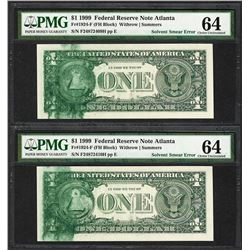 (2) Consec. 1999 $1 Federal Reserve Notes Solvent Smear ERROR PMG Ch. Uncirculated 64
