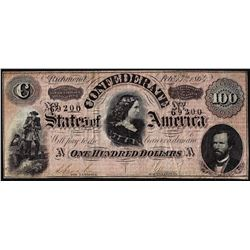 1864 $100 Confederate States of America Note - Internal Splits