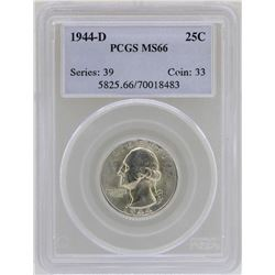 1944-D Washington Quarter Coin PCGS MS66