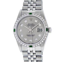 Rolex Mens Stainless Steel Slate Grey Diamond & Emerald Datejust Wristwatch