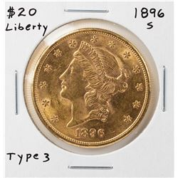 1896-S Liberty Head $20 Double Eagle Gold Coin