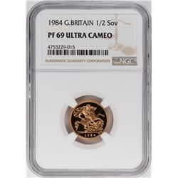 1984 Great Britain Proof Half Sovereign Gold Coin NGC PF69 Ultra Cameo