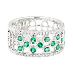 18KT White Gold 0.57 ctw Emerald and Diamond Band