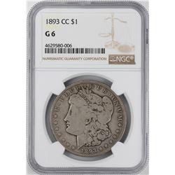 1893-CC $1 Morgan Silver Dollar Coin NGC G6