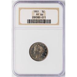1901 Proof Liberty V Nickel Coin NGC PF66