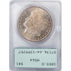 1882-O $1 Morgan Silver Dollar Coin PCGS MS64 Old Rattler Holder