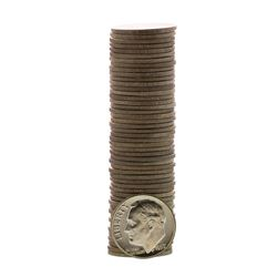 Roll of (50) Brilliant Uncirculated 1957 Roosevelt Dime Coins