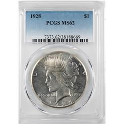 1928 $1 Peace Silver Dollar Coin PCGS MS62