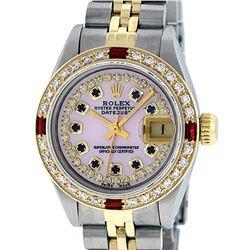 Rolex Ladies Two Tone 14K Pink MOP Diamond Sapphire & Ruby Datejust Wriswatch