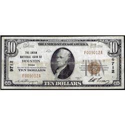 1929 $10 National Bank Houston, TX CH# 9712 National Currency Note