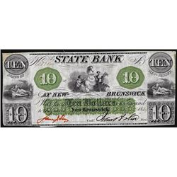 1864 $10 State Bank at New Brunswick Obsolete Note