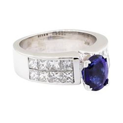 14KT White Gold 3.44 ctw Sapphire and Diamond Ring