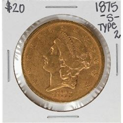1875-S Type 2 $20 Liberty Head Double Eagle Gold Coin