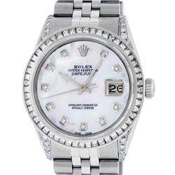 Rolex Mens Stainless Steel MOP Diamond Datejust Wristwatch With Rolex Box