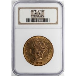 1878-S $20 Liberty Head Double Eagle Gold Coin NGC MS61