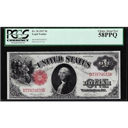1917 $1 Legal Tender Note Fr.36 PCGS Choice About New 58PPQ