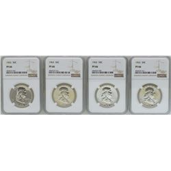 Lot of (4) 1963 Proof Franklin Half Dollar Coins NGC PF66