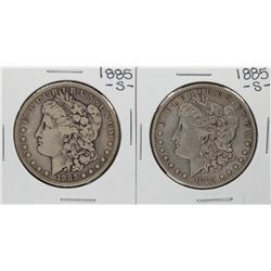 Lot of (2) 1885-S $1 Morgan Silver Dollar Coins
