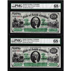 (2) Consecutive 1872 $50 South Carolina Obsolete Notes PMG Superb Gem Unc. 68EPQ