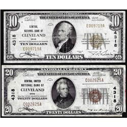 Set of 1929 $10/$20 NB of Cleveland, OH CH# 4318 National Currency Notes