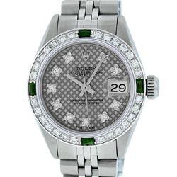 Rolex Ladies Stainless Steel Slate Grey Stamp Diamond & Emerald Datejust Wristwatch