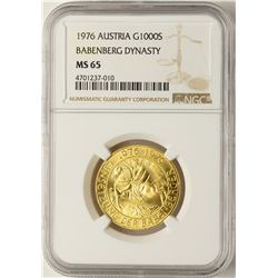1976 Austria 1000 Schilling Babenberg Dynasty Gold Coin NGC MS65