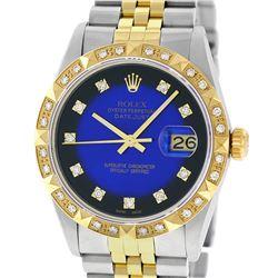 Rolex Mens Two Tone 14K Blue Vignette String Pyramid Diamond Datejust Wristwatch