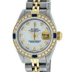 Rolex Ladies Two Tone MOP Diamond & Sapphire Datejust Wristwatch