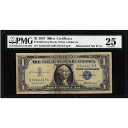 1957 $1 Silver Certificate Note Mismatched Serial Number ERROR PMG Very Fine 25