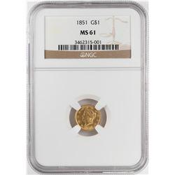 1851 $1 Liberty Head Gold Dollar Coin NGC MS61